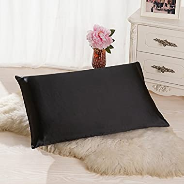 ALASKA BEAR - Natural Silk Pillowcase, Hypoallergenic, 19 momme, 600 thread count 100 percent Mulberry Silk, Queen Size with hidden zipper(1, Black)