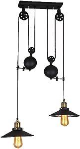 COCOL Lámpara Colgante Vintage Vintage, araña Industrial Retro, Bar E27 Edison lámpara Colgante, araña Industrial Luces Colgantes de Metal Rueda de Estilo con Onda Retro Ajustable-Negro