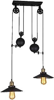 COCOL Lámpara Colgante Vintage Vintage, araña Industrial Retro, Bar E27 Edison lámpara Colgante, araña Industrial Luces Colgantes de Metal Rueda de Estilo con Onda Retro Ajustable-Negro … (B)