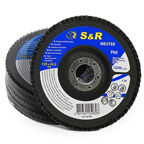 S&R 5 Dischi Abrasivi Lamellari 125 per Acciaio e Legno. Grana 60 Set 5 Dischi a Lamelle per Smerigliatrice