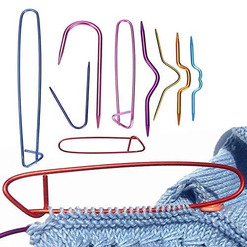 케이블 스티치 홀더 9 팩 알루미늄 케이블 바늘 구부러진 태피스트 원사 바늘을 위해 뜨개질을 하는 뜨개질 프로젝트