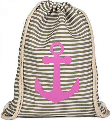 styleBREAKER Turnbeutel Rucksack im maritimen Design mit Streifen und Anker Print, Sportbeutel, Unisex 02012052, Farbe:Oliv-Weiß/Pink
