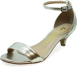 Sandália Salto Baixo Fino Luiza Sobreira Couro Prata Mod. 4080-2