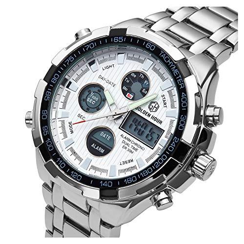 『[バロンズ] 腕時計 メンズ クロノグラフ 日本製クォーツ 防水 夜光 アラーム アナデジ表示 (02-ホワイト)』のトップ画像