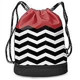 ewtretr Sacs à Cordon,Sac à Dos Red Black Stripe Drawstring Backpack Bags Gym Cinch Storage Bag...