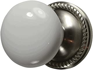 White Porcelain Door Knob Set with Georgian Rosette in Brushed Nickel (Double Sided Dummy)