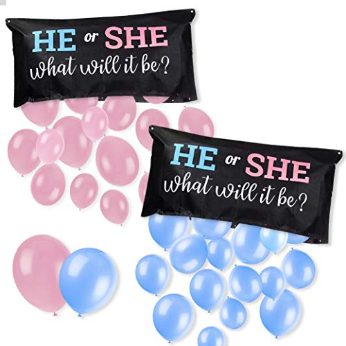 """Gender Reveal Party Decoration - Balloon Drop Bag Baby Shower Preganancy Anouncment """"He or She, What Will it Be?"""" - Includes Pink and Blue Balloons"""