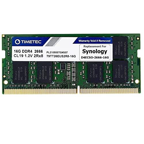 Timetec DDR4-2666 16GB Replacement for Synology D4ECSO-2666-16G DDR4 ECC Unbuffered SODIMM 2666MHz PC4-21300 260 Pin 1.2V CL19 Dual Rank 2Rx8 Based 1024x8 Memory RAM Upgrade (D4ECSO-2666-16G_TT)