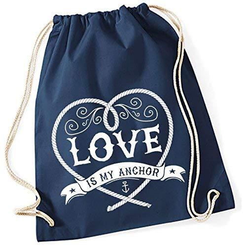 Mein Zwergenland Jute Love Is My Anchor, 12 L, Bleu Marine, Motif 42