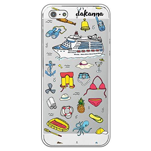 dakanna Custodia per [iPhone 5-5S - SE] Crociera Nave con Ancora e Ananas, Cover in Gel di Silicone TPU Morbido di Alta qualità con [Sfondo Trasparente]