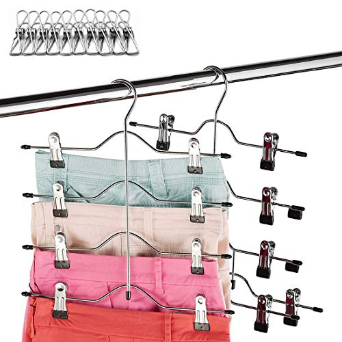 Qualsen Múltiple Abrazadera para Faldas Pantalones, 2pcs Perchas Pinzas Faldas Antideslizantes de Acero Inoxidable de Metal