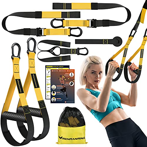 RENRANRING Home Suspension Training Kit, Suspension Trainer Straps for Full-Body Workout, Bodyweight Resistance Bands with Handles, Door Anchor, Workout Guide for Home Gym