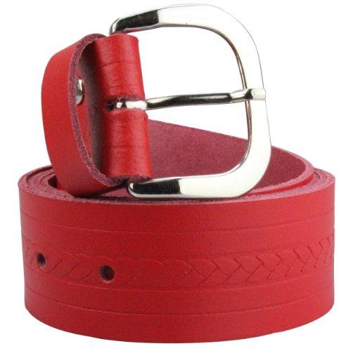 Alex Flittner Designs Echt Ledergürtel Herren in rot mit Zopfmuster 4cm breit | Bundweite 95cm = Gesamtlänge 110cm