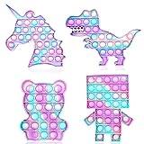 PhiGie 4 piezas Push Pop Fidget Push Pop Bubble Fidget Sensory Bubble Popper Fidget Stress Ansiedad Alivio Autismo Necesidades Especiales Alivio del Estrés (4 Paquetes/Púrpura+Azul)