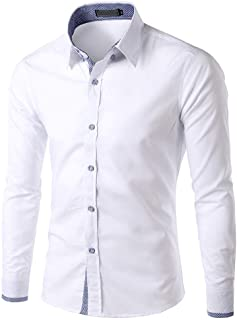 Camisa Para Hombre Negro Blanco Negocio Sólido Azul Moda Tamaños Cómodos Camisas Para Hombre Cuello Alto Solapa Manga Larg...