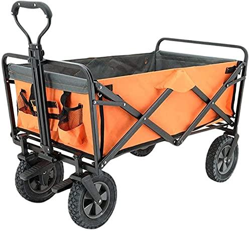 XQMY Picknick-Wagen - Mm Faltbarer Outdoor-Picknickwagen, Camp-Wagen, Supermarkt-Einkaufen und Lebensmitteleinkauf, klappbarer Handschub-tragbarer Trolley-Wagen, Orange