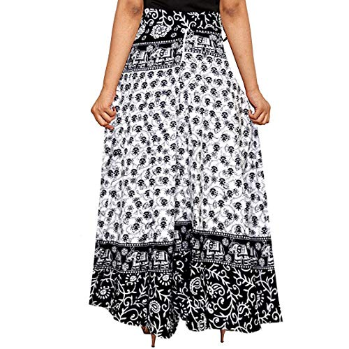 UniqueChoice Women's Cotton Printed Wrap Around Skirt (White, Black, Free Size)