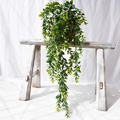 Artificial Eucalyptus Garland Faux Weeping Willow Leaves Vines Handmade Plastic Garland Greenery Hanging Plant Wedding Backdrop Arch Wall Table Party Decor Green #2