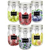 Creative Home 6 x Tarros de Cristal Herméticos con Tapa | 6 x 1L | Set Botes Envases 1 Litro Cierre de Clip | para Conservar Alimentos | 8 Pegatinas Reutilizables + 1 Tiza Sin Polvo
