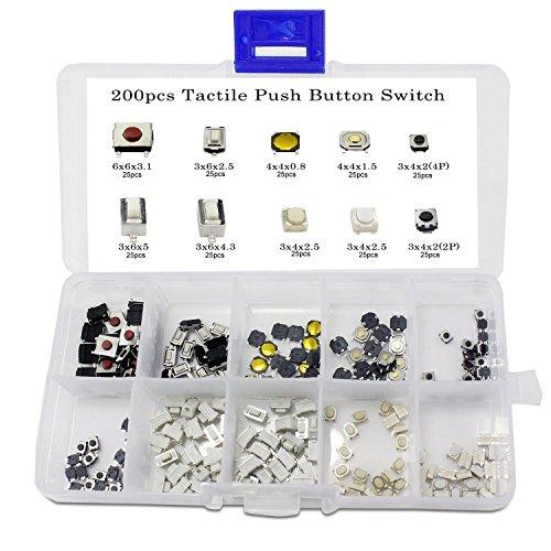 ARCELI 250PCS 10Value Interruttore a Pulsante tattile Micro Assortimento Tact Assortment Kit + Scatola di plastica
