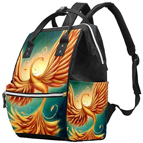 Magic Firebird Phoenix Nappy Changing Bag Diaper Sac à dos avec poches isolées, sangles de poussette, grande capacité multifonctionnel élégant sac à couches pour maman papa en plein air