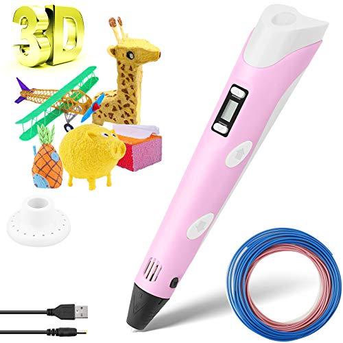 Penna 3D, 3D Penna di Stampa con Filamento Schermo LCD 3D Pen Intelligente Controllo della Temperatura per la Stampa di Regali fai-da-te Creativo Facile da Usare per i BGambini