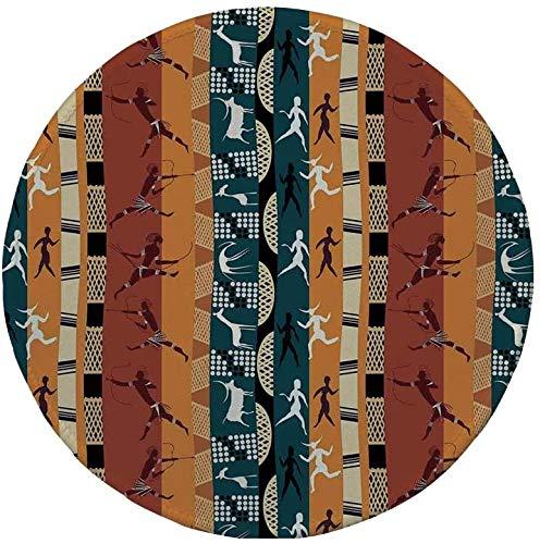 Rutschfreies Gummi-Rundmaus-Pad primitive klassische afrikanische Jagdmotive mit primitiven menschlichen Tierfiguren Giraffenhirsch mehrfarbig 7.9