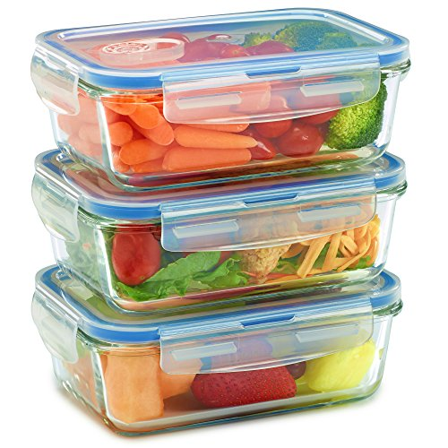 Glass Meal Prep Containers for Food Storage and Prep w/Snap Locking Lids (3|6|18PK) Airtight & Leak Proof - Oven, Dishwasher, Microwave, Freezer Safe - Odor and Stain Resistant