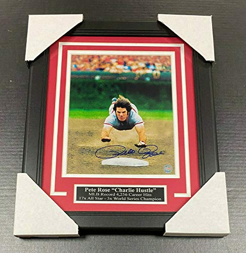 Pete Rose Autographed Framed 8x10 Photo Diving Hit Kit Reds COA AUTHENTIC