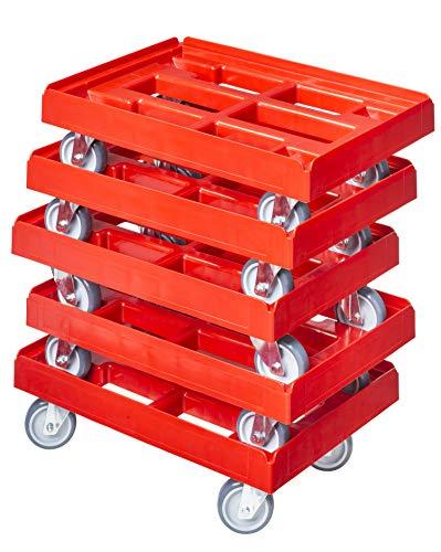 5 Stück Transportroller für Kisten 60 x 40 cm mit 4 Lenkrollen in rot