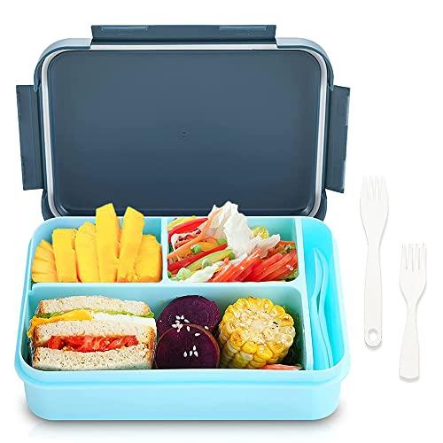 Bugucat Lunchbox1250ML,Bento Box Brotbüchse Auslaufsicher Luftdichte Brotzeitbox mit Fächernund Besteckset, Frühstücksbox Geeignet für Mikrowellen und Spülmaschinen,Brotdose für Kinder Erwachsene