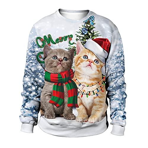 Herren und Damen Pullover Weihnachten Sweatshirt Langarmshirt Paar-Outfit Paar Pullover Ugly Christmas Sweater 3D Drucken Weihnachten T-Shirt Langarm Oberteile