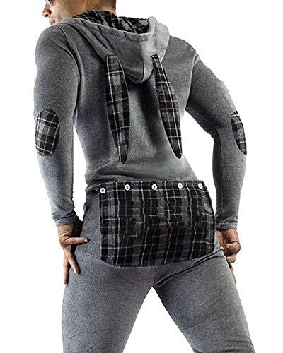 Men's Sexy Hoodie Jumpsuit Onesie Butt Flap Pajamas One Piece Playsuit Adult Novelty Pjs( B Gray Dark,L)