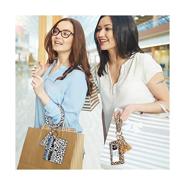 Keychain Bracelet with Card Holder for women 3 Card Slots PU Leather Wristlet Keyring Bangle
