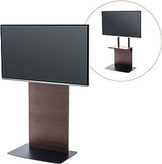 サンワダイレクト 壁寄せ テレビスタンド 32型~55型 3段階高さ調整 棚板付 濃い木目 100-PL019M