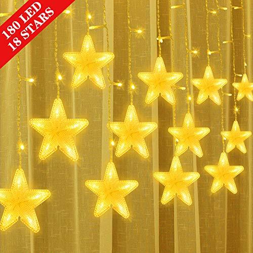 Uping Cortina Luces Guirnaldas Luces Interior 180 LED 18 Estrellas Cadena de Luces Decorativas para Navidad Festival Fiestas Casa Jardín Boda Blanco Cálido