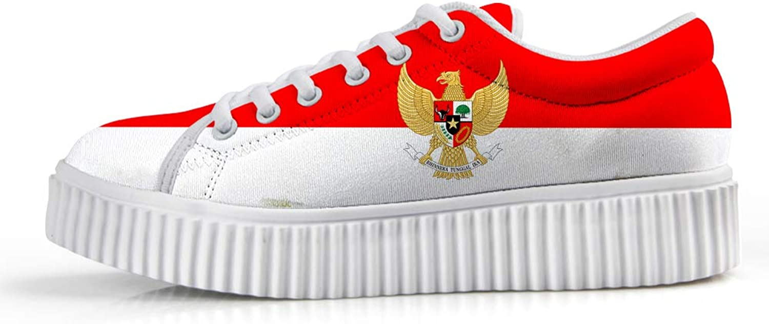 Owaheson Platform Lace up Sneaker Casual Chunky Walking shoes Low Top Women Indonesia Flag National Emblem