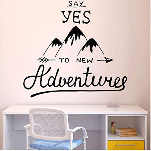Wandtattoo Wanderlust Aufkleber Dekor Wandbild Abenteuer Zitate Wandaufkleber Für Explorer Mountain Form Aufkleber 56x61 cm