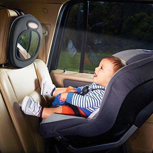 Brica by Munchkin Espejo de coche Baby In-Sight con luz LED y melodías calmantes