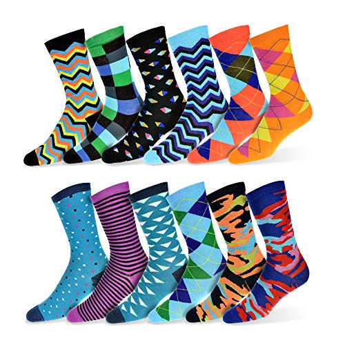 "Robert Shweitzer Mens Fun Funky and Colorful Patterned Dress Socks with Cool and Crazy Designs -""12 Pack"" (Collection D)"