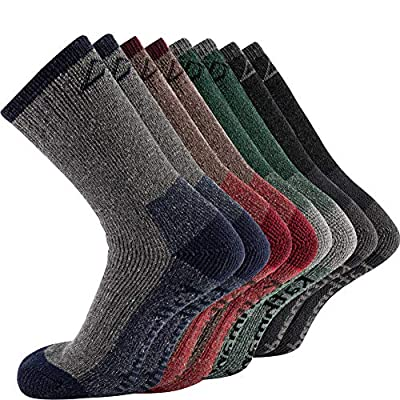 KAVANYISO Men's 70% Merino Wool Hiking Socks Breathable Athletic Crew Thicken (US MEN 4 Pair, ASS(kat))