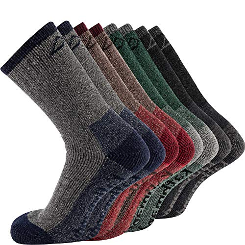 KAVANYISO Men's 70% Merino Wool Hiking Socks Breathable Athletic Crew Thicken (US MEN 4 Pair, ASS(kat))