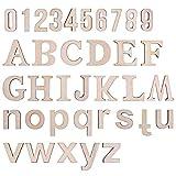 LegendTech 124PCS Lettere Dell'alfabeto in Legno e Numeri Lettere di Legno Decorative 0-9 Numeri di Legno Set Decorativo Squisito per DIY Decorativa Arti e Mestieri Spettacolo 45*4mm