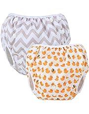 Teamoy 水遊びパンツ 2点セット 0-3歳 赤ちゃん用 ボタンでサイズ調整可能 防水外層 ポリエステルメッシュ内層 オムツカバー スイミング教室・公園・海水浴・プール(グレー波+アヒル)