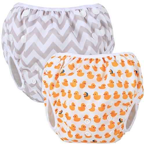 Teamoy Schwimmwindel Baby, Schwimmhose Baby Wiederverwendbar, Baby Badehose Jungen, Baby Verstellbar Badeanzug für 0-3 Jahre Baby (Duck + Grey Chevron)