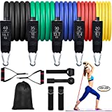 Resistance Bands Set,Work Out Bands Exercise Bands with Handles Door Anchor for Men Women Stretch Bands for Gym Home Working Out Up to 150LB