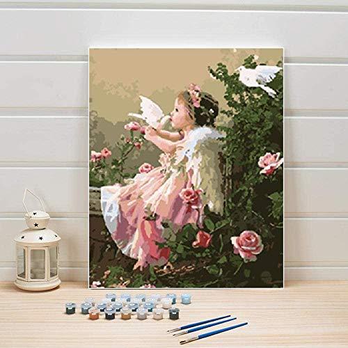IOIUG Pintura al óleo sobre Lienzo por números Bailarina Abstracta Mujer Pintura acrílica DIY Imágenes para Colorear para Sala de Estar Dibujo de Pared Arte Adultos-No Frame-40x50cm