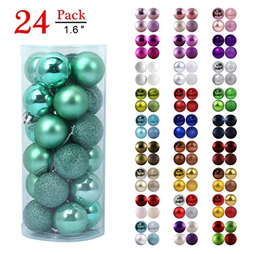 GameXcel Christmas Balls Ornaments for Xmas Tree  Shatterproof Christmas Tree Decorations Perfect Hanging Ball Teal 16quot x 24 Pack