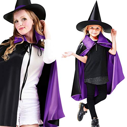 Greenke Halloween Decorations Capes with Hat, 35.4 inch Witch Capes with Hood Cosplay Wizard Cloak Costumes for Kindergarten Magician Party Role Play Props Two Ways to Wear-Kids & Adult