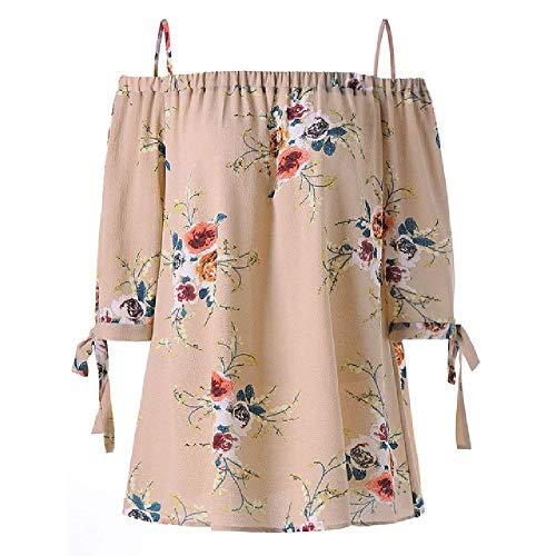 NOBRAND Fashion Damen Riemen Chiffon Cold Shoulder Ms. Loose Shirt Top Casual Kurzarm Top Sommer Frauen Gr. XXXXXL, beige